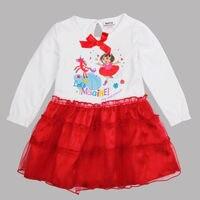 Trắng red bé gái mùa hè dora dresses, quần áo trẻ em, ăn mặc cho cô gái, bên đứa trẻ vestidos infantis sinh nhật dài tay áo