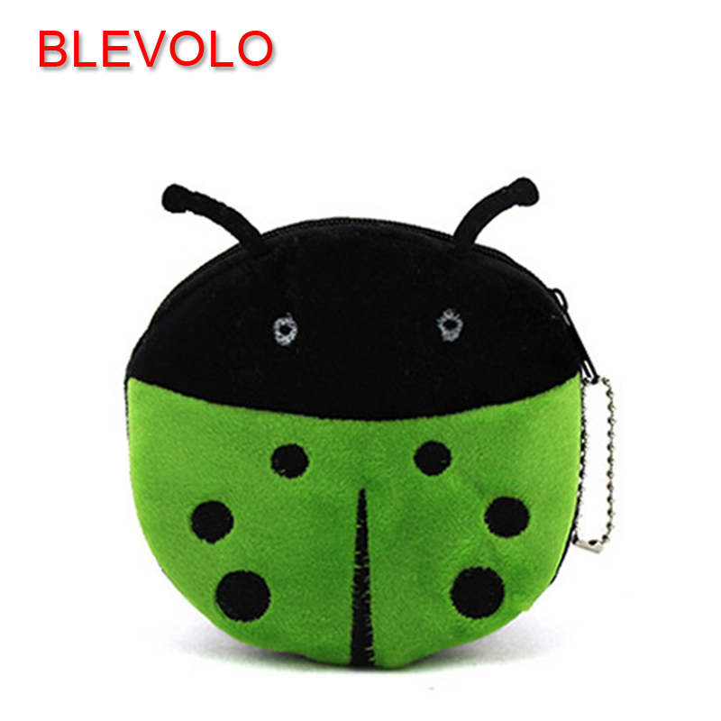 BLEVOLO Cute Cartoon Animal Beetles Coin Purses Children Plush Zipper Wallet Bag Kids Girl Change Purse Coin Bags For Women Gift new 2016 cartoon cute minions dave bob plush coin change purse zipper mini children bag women wallets girl for christmas gift