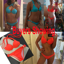 2018 Bikinis Women Swimsuit Push Up Swimwear Sexy Bright Halter Mini Micro Bikini Brazilian Bandeau String Bathing Suit Swim