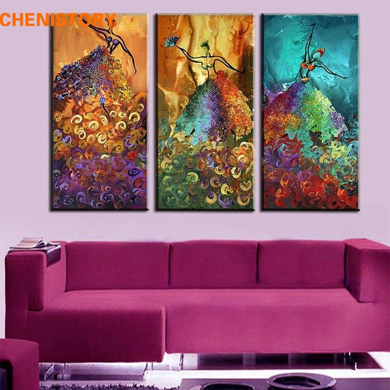 Sans cadre 3 Panneau Coloré Danseuse Abstraite à la Main Moderne Peinture À L'huile Sur Toile Maison Mur Photo Pour La Décoration De La Maison D'art