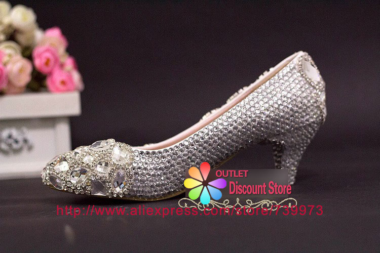 a0e23e3879f34 2 Inch Heels Diamond Crystal chunky low heel pumps bridal shoes Bling clear  cinderella party evening shoes Abend Schuhe SJW014E-in Women s Pumps from  Shoes ...