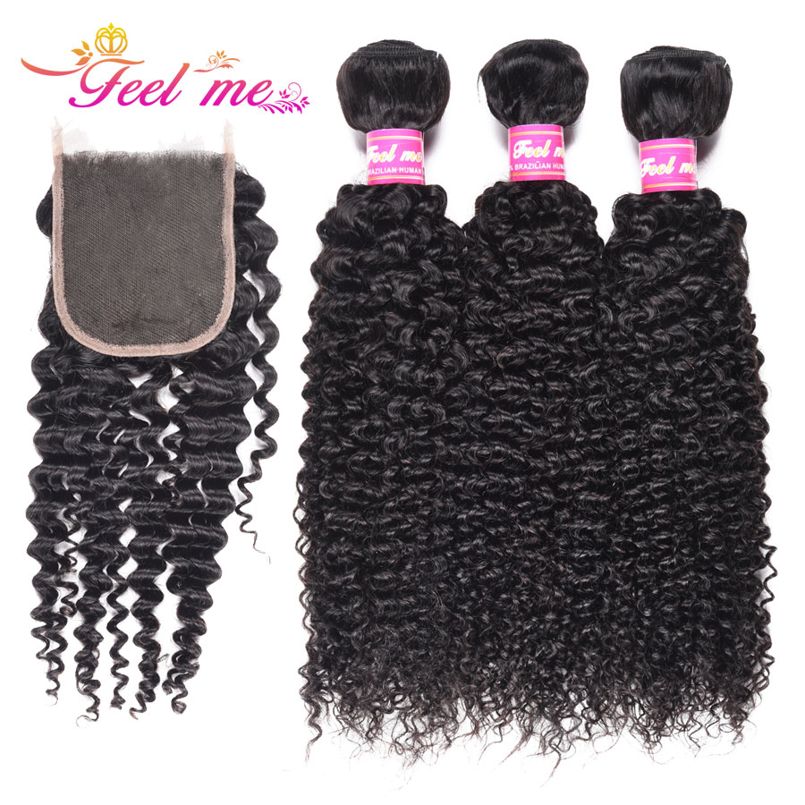 Feel Me Brazilian Non remy Hair Kinky Curly Bundles with Closure 3 Bundles Human Hair Weave With 4x4 Lace Closure Natural Color