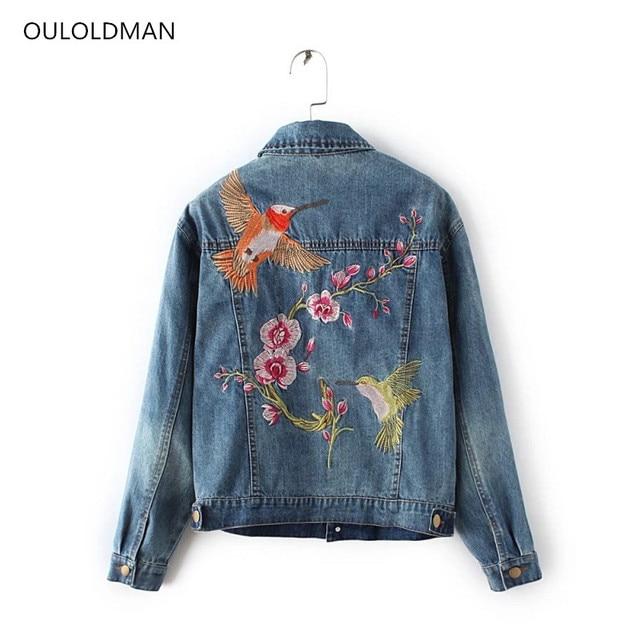 Embroidered Jeans Jacket Women Blue Denim Jackets Fashion Basic Coat Lady  Bird Floral Embroidery Tops Female Windbreaker Outwear 577462e5d