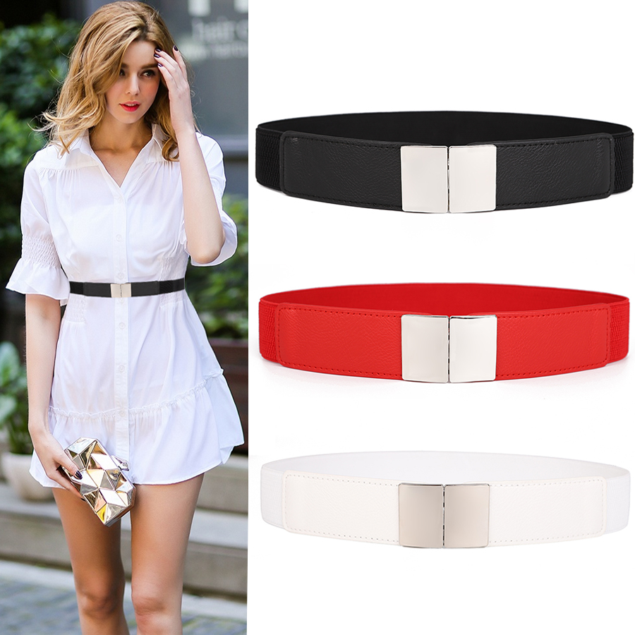 Women Wide Belt Elastic Cummerbunds Stretch Cinch Waistband Lady Cummerband Girls HOT Silver Buckle Waistbands For Dress Wedding