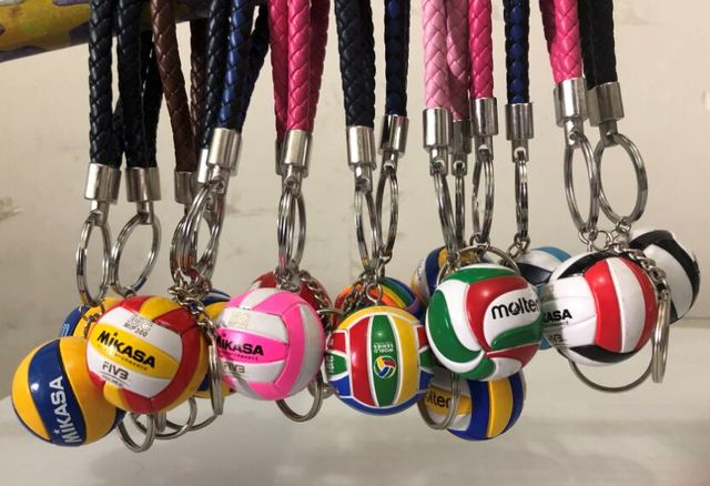 3.8cm Mini PVC Volleyball Keychain Sport Key Chain Gift Car Ball Key Holder Ring For Sports Team For Mens Womens Keyring