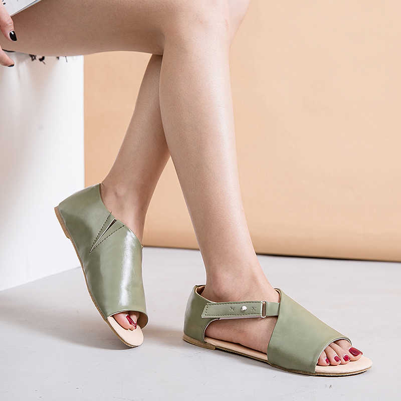 Pu Leder Frauen Sandalen Knöchel Schnalle Gladiator Roma Schuhe Damen Offene spitze Niedrigen Ferse Flache Schuhe Frauen Casual Sandalen Sandalen