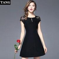 2019, новая мода черный Tangchao S XL размеры 2019 лето осень кружево хлопок с длинным рукавом по колено для женщин платья для