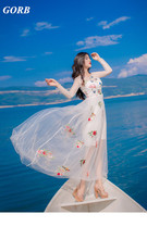 2017 Newest Summer Hot Sales Fashion Brand High Quality Women Butterfly Dragonfly Flower Embroidery Net Yarn Sexy Dress G8336