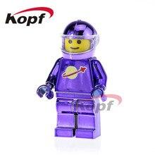 Única Venda Figuras de Super Heróis Chrome Astronauta Luz Roxa Espaço Homem Ironman Building Blocks Crianças Dom Brinquedos Modelo PG1146