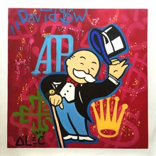 hand painted oil painting Alec monopoly DJ music art poster Canvas painting Living Room decoration Street art Richie
