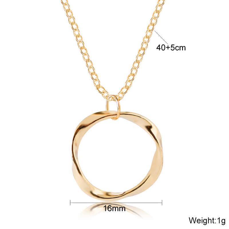 Moda model okrągły mały wisiorek naszyjnik złoty kolory Bijoux Collier eleganckie damska biżuteria na prezent czeski urok naszyjnik łańcuszkowy