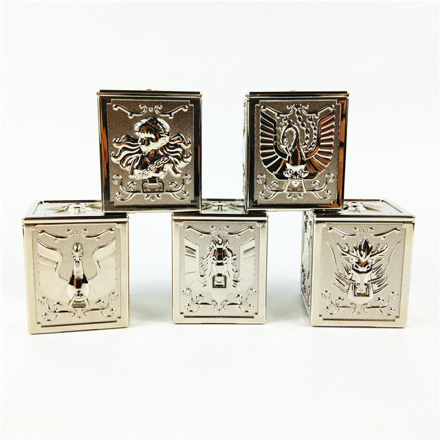 5pcs/set bronze Saint Seiya Myth Cloth Pandora Box the five bronze sanits seiya Shiryu Hyoga Ikki Shun Plastic Silver color