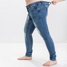 Новинка 2017 года Джинсы для женщин для женщин; Большие размеры L-5XL Весна Европейский Американский был тонкий эластичный большой Размеры отверстие Джинсы для женщин женские Средства ухода за кожей стоп 100 кг можно носить