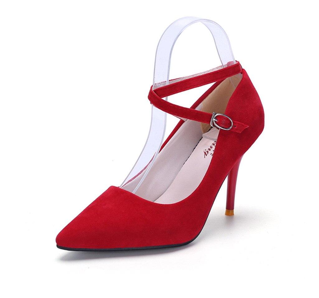 Croix Talon Noir Sangle Mode Femmes Chaussures Tête slip Doux D'été Pointu Sandales Non Sandalia rouge rose Sexy De Épais Feminina ITTCqw6