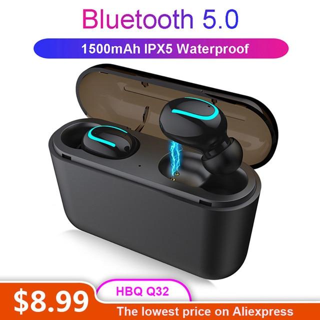 HBQ Q32 наушники-вкладыши TWS Bluetooth 5,0 наушники Беспроводной стерео мини-наушники гарнитура IPX5 Водонепроницаемый спортивные наушники для iPhone Xiaomi iOS