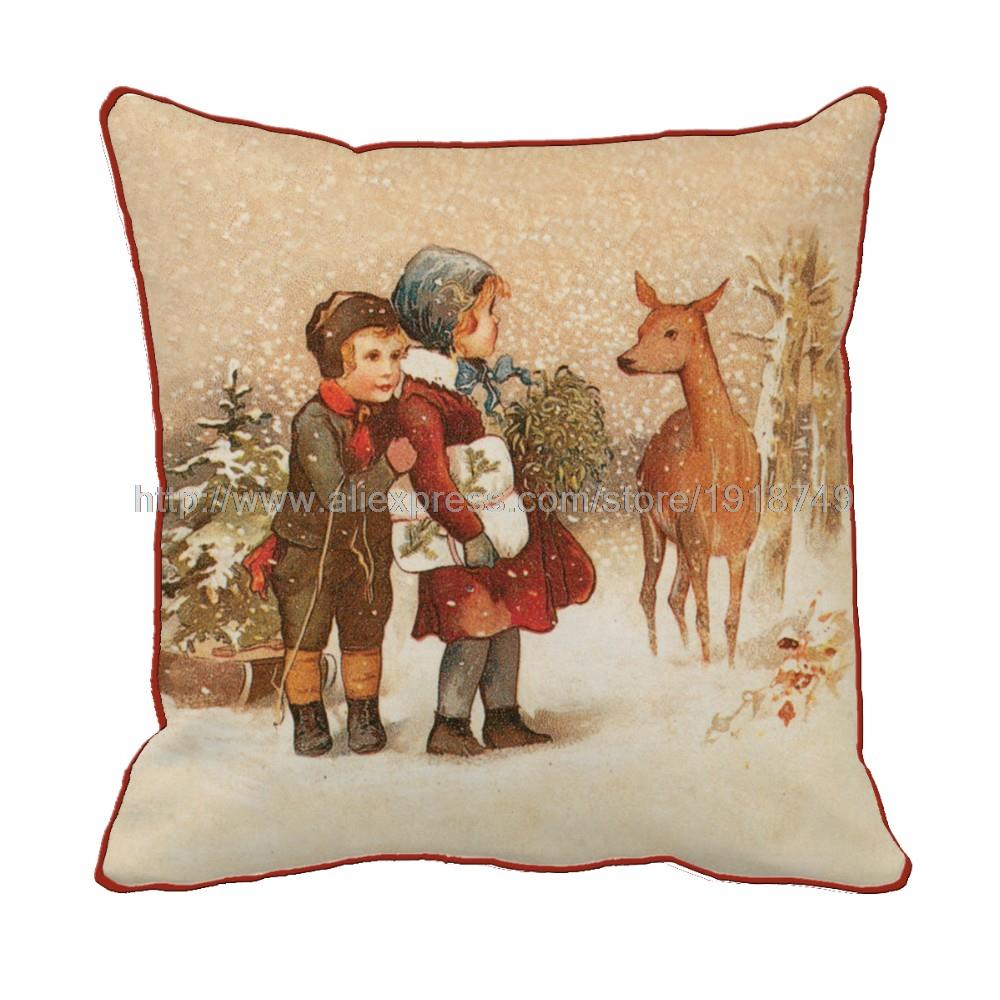 two person with deer printed cushion cover decorative throw pillows covers retro vintage square christmas cushion cover pillow