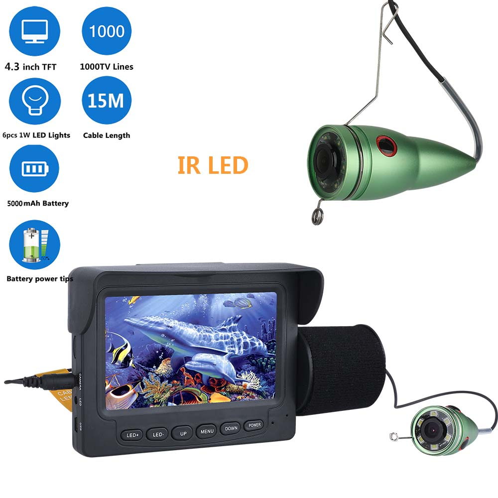 Smart Hd 1000tvl Underwater Fishing Video Camera Kit 6 Pcs Led Lights With 7 Inch Color Monitor 15m 20m 30m 50m Surveillance Cameras Video Surveillance