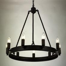 Black Vintage Iron Chandelier Lighting Lustre Wrought Loft Chandeliers For Living Room Bedroom Kitchen Indoor LED Nordic Retro