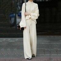 Осень зима Для женщин трикотажные водолазки Повседневное костюм Повседневное кашемировый топ и элегантный широкий прямые брюки комплект и