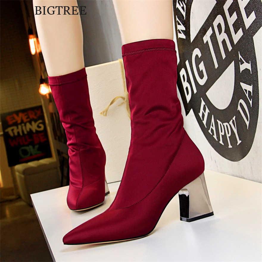 Streç Lycral kare topuk muhtasar kadın botları yeni varış sivri burun yüksek topuklu 7cm çizmeler kadın moda kısa çizmeler 4 renk