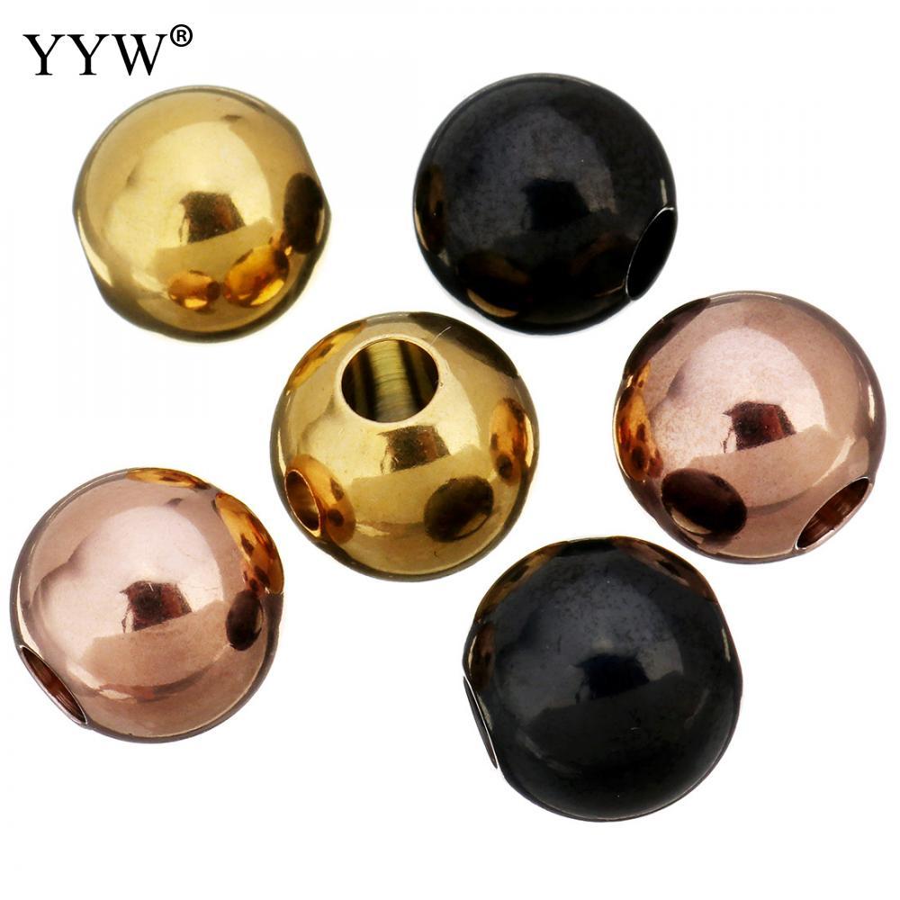 100 pcs/Lot perles entretoises en acier inoxydable boule 11x12x11mm perles rondes en métal pour bijoux Bracelet faisant des résultats de bricolage