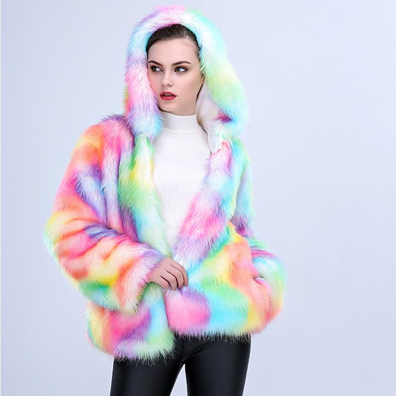Fourrure manteau femmes moelleux chaud arc-en-ciel fausse fourrure manteau survêtement 2019 automne hiver court Teddy veste grande taille 4XL