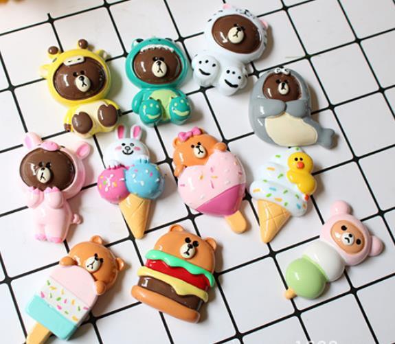 6 CM Flatback résine Cabochon Kawaii bande dessinée crème glacée, ours suivant bricolage décoration artisanat embellissement accessoires pour coiffure