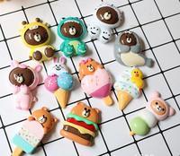 6CM Flatback Resin Cabochon Kawaii Cartoon Ice cream,bear following DIY Decoration Craft Embellishment Accessories For Headdress