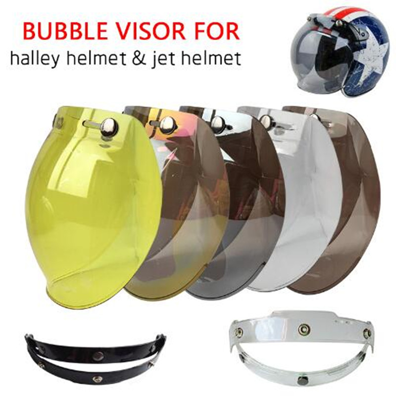 (1pc y 5colors) 100% Original motocicleta casco Visor Shield Retro Hallar casco máscara Vintage cascos burbuja