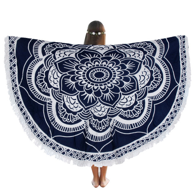 ISHOWTIENDA Round Beach Pool Home Shower Towel Blanket Table Cloth Yoga Mat New