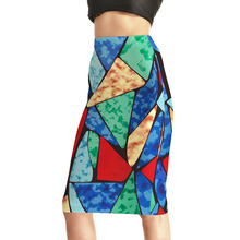 New Women's Fashion High Waist Sexy Colorful Triangle 3D Print Skirts Package Hip Skirt S M L XL XXL XXXL XXXXL