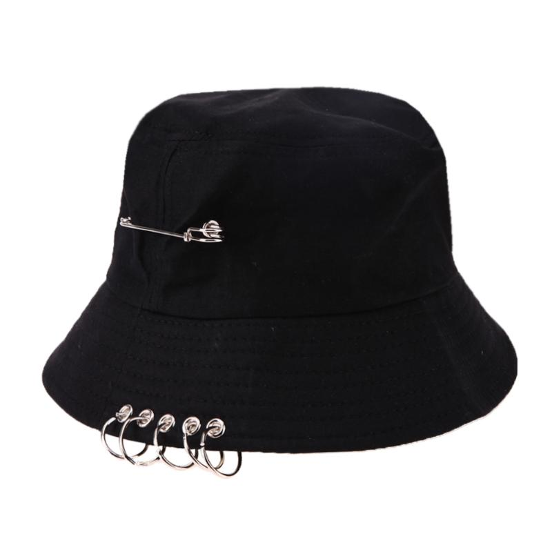 HTB1xw.za8WD3KVjSZFsq6AqkpXaL - NEW Solid Color Cool Unisex Iron Pin Ring Personality Bucket Hat Cap Folding Fisherman Hat Hunting Fishing Outdoor Cap