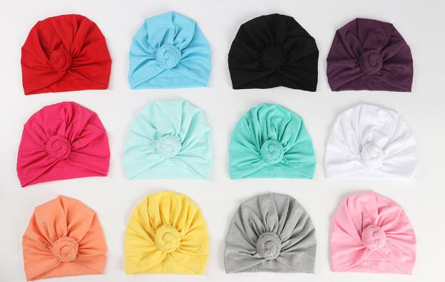 ON SALE 1PCS Toddler Kids Baby Cotton Soft Turban Knot Hat Candy Color Stretchable Cap Bohemian Baby Hat Beanie