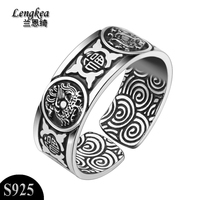 Men rings,999 pure silver male ring Men opening finger ring personality male vintage animal thai silver ring,boy friend gift