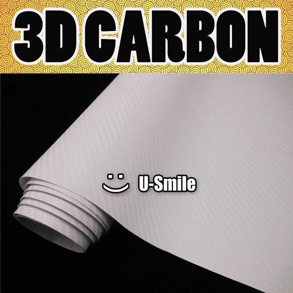 3D blanc Fiber de carbone Texture vinyle Wrap autocollant autocollant Film Air libération voiture emballage taille: 1.52X30 M/rouleau