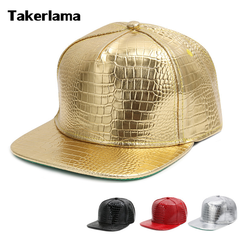 Takerlama Fashion Hip Hop Hat PU Leather Flat Baseball Caps Metal Color DJ Rap Snapback Hat Plaid Pattern Caps Unisex
