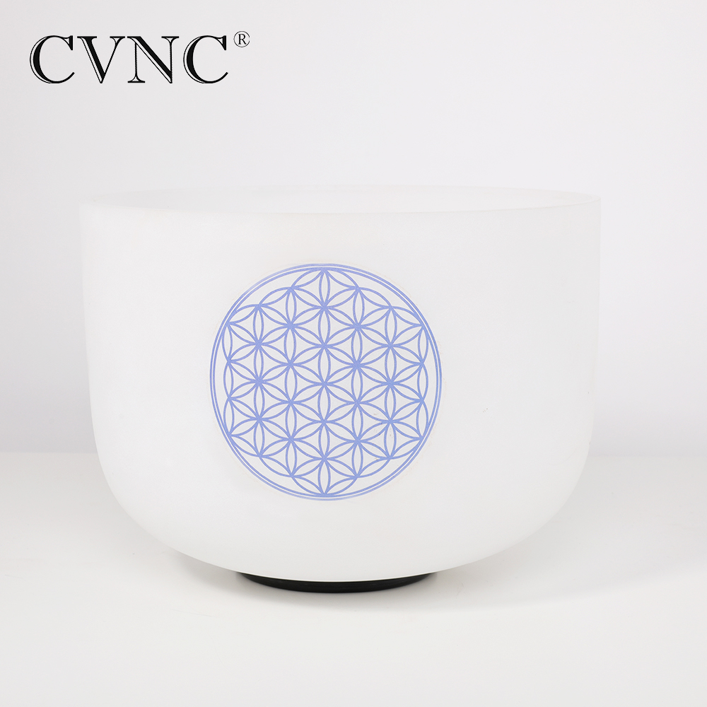 CVNC Flower of Life 8 Note B Crown  Chakra Frosted Quartz Crystal Singing Bowl  Free Shipping Cost CVNC Flower of Life 8 Note B Crown  Chakra Frosted Quartz Crystal Singing Bowl  Free Shipping Cost