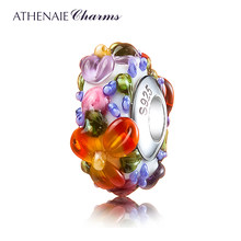ATHENAIE Murano Glass 925 Silver Core Hawaiian Maui Floral Lei Charm Bead Fit Pandora Bracelet and Necklace Fashion DIY Jewelry(China)