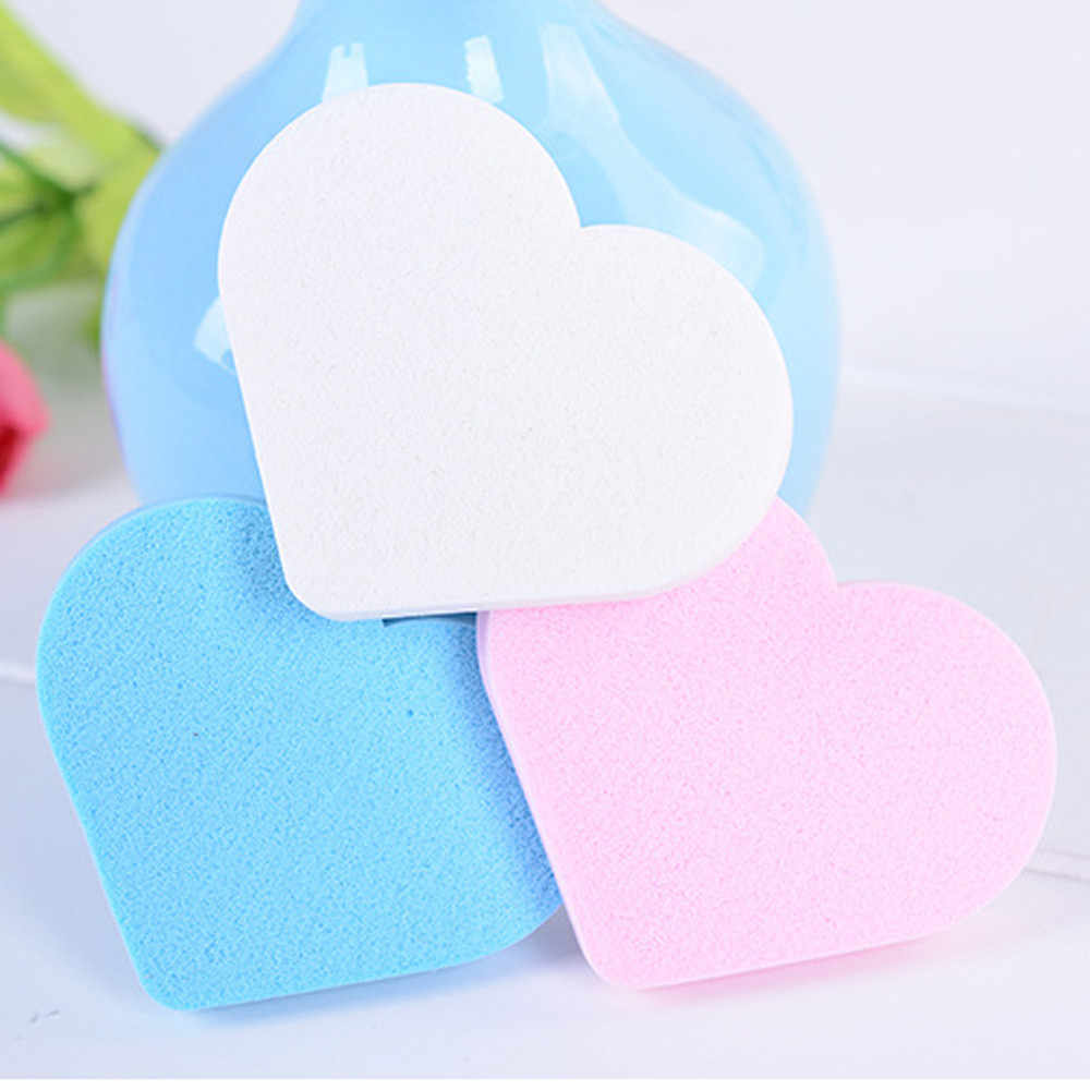 3Pcs New Fashion Beauty Cosmetic Face Sponge Pro heart shape Smooth Sponge Makeup Foundation Powder Smooth Puff Drop ship
