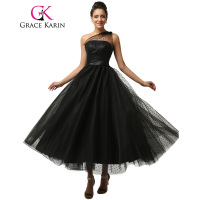 Grace Karin New Ball Gown Long Dresses Black Evening Dress Soft Tulle Sexy One Shoulder Formal