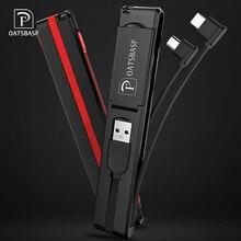 Oatsbasf 3 in 1 Micro USB Type C 8 Pin Cable for iPhone X 7 6 Creative Design Hidden Xiaomi Huawei