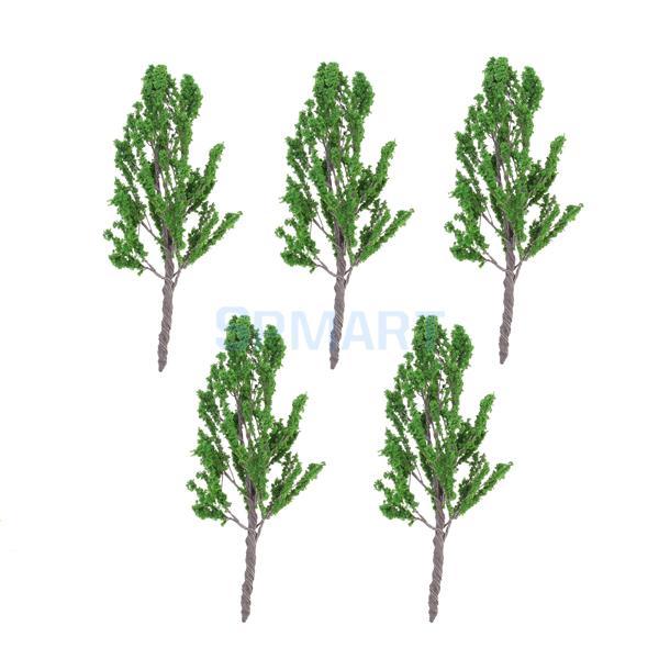5pcs 12cm 1:75 Train Layout Set Model Railway Railroad Scenery Trees Green