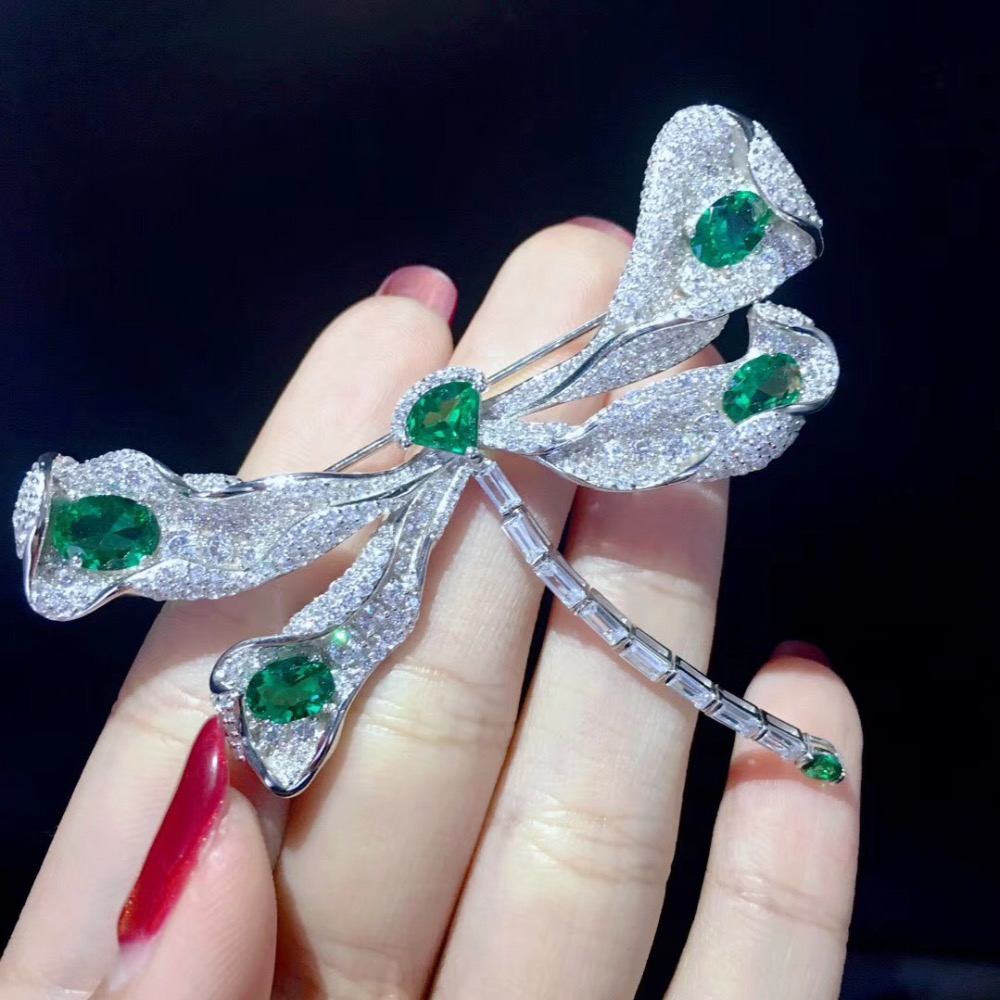 green color 925 sterling silver with cubic zircon dragonfly brooch pins fashion women jewelry free shipping chic faux gem inlay dragonfly shape brooch for women