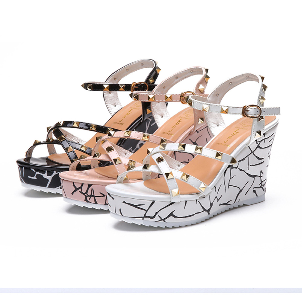 Zapatos Mujer 2018 Shoes Woman Sandals Wedge Summer Lady Fashion High Heels Sandals Elegant Rivets Women Shoes Platform Wedges 15