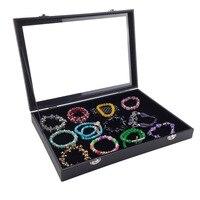 Black Color Velvet Earrings Ring Bracelets Organizer Ear Studs Jewelry Glass Display Showcase Plate 35*24*4.5cm(L*W*H)