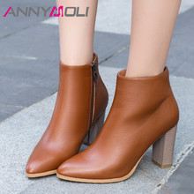 ANNYMOLI Winter Ankle Boots Women Natural Genuine Leather Thick Heel Short Boots Zipper Extreme High Heel Shoes Lady Fall 34-39 цена