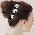 3 UNIDS horquillas de novia hecho a mano de La Vendimia hojas Flor Hecha A Mano de La Boda Nupcial Pernos de Pelo de La Perla Accesorios de La Boda Celada