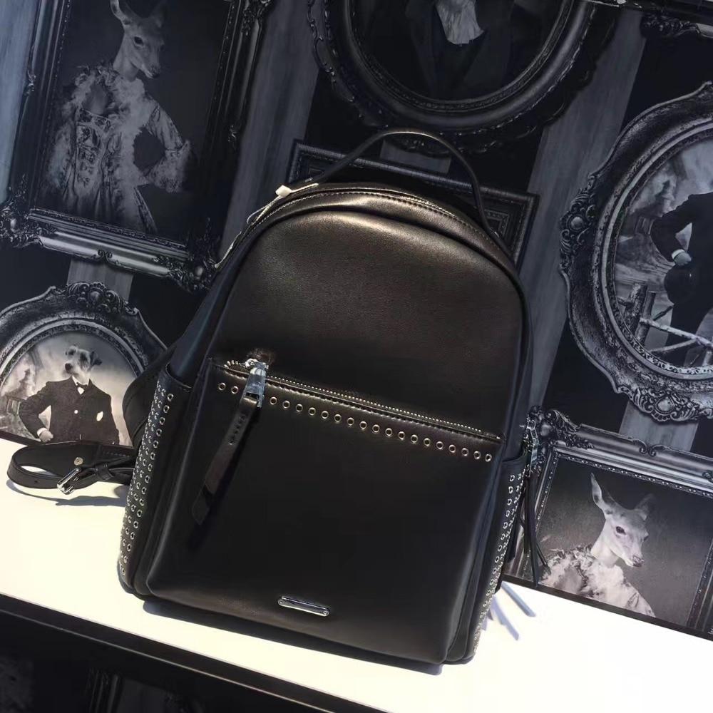 Backpack for women 2017 genuine leather unisex Designer famous brand laptop backpack mini rucksack rivet backpack
