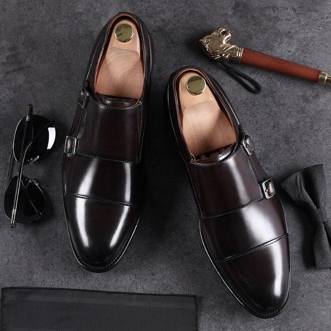 Robe Véritable De Hommes Pointu D'affaires Gentleman brown Conception Boucle Solides En Noir Bout jaune Qualité Chaussures Z340 Cuir Appartements E6qYw4