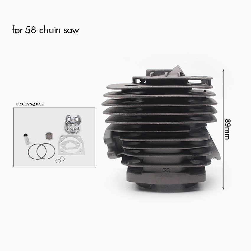 45.2 มม. กระบอกสูบหัวลูกสูบ Rebuild Kit แหวน Pin คลิปสำหรับ 58 Chainsaw Universal เข้าสู่ระบบเลื่อยกระบอก fitting
